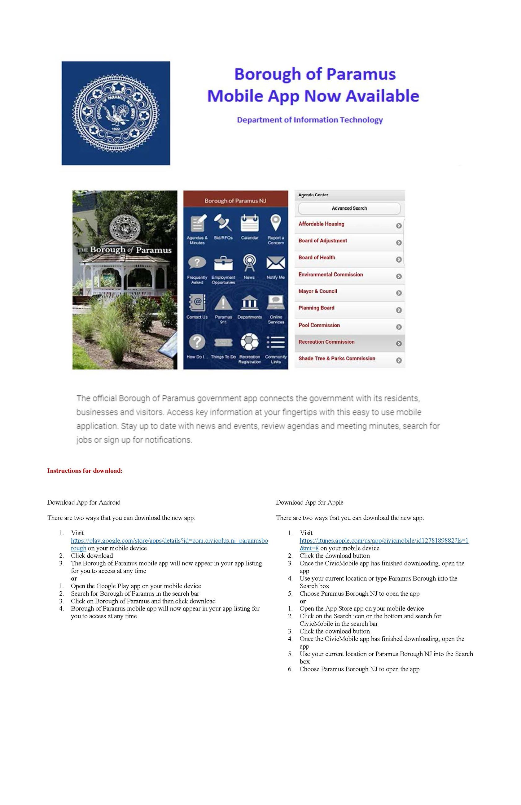 Borough of Paramus Mobile App