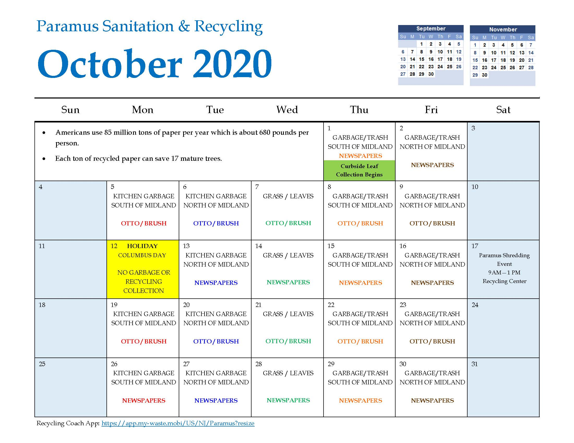 2020 Paramus Recycling Calendar October