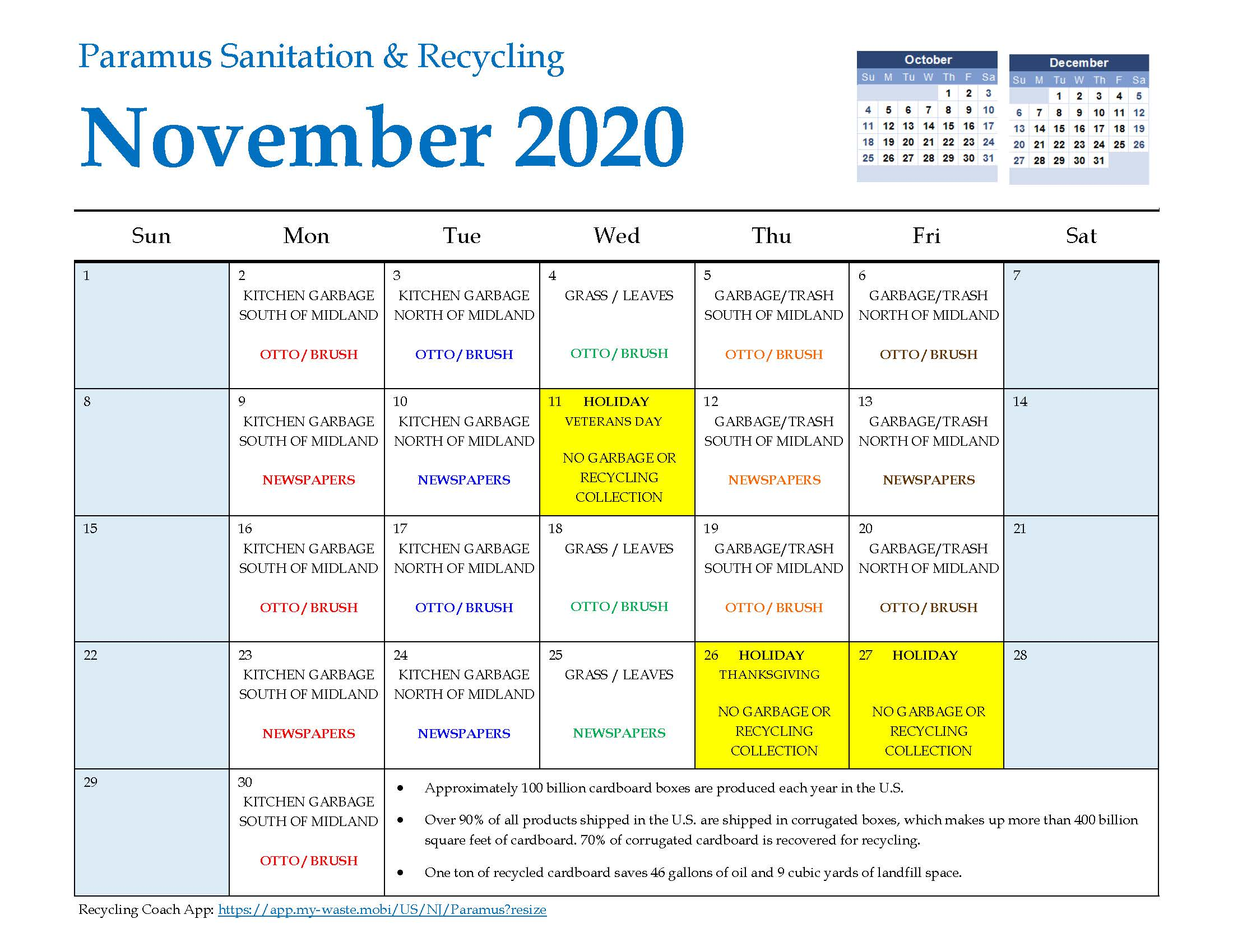 2020 Paramus Recycling Calendar November