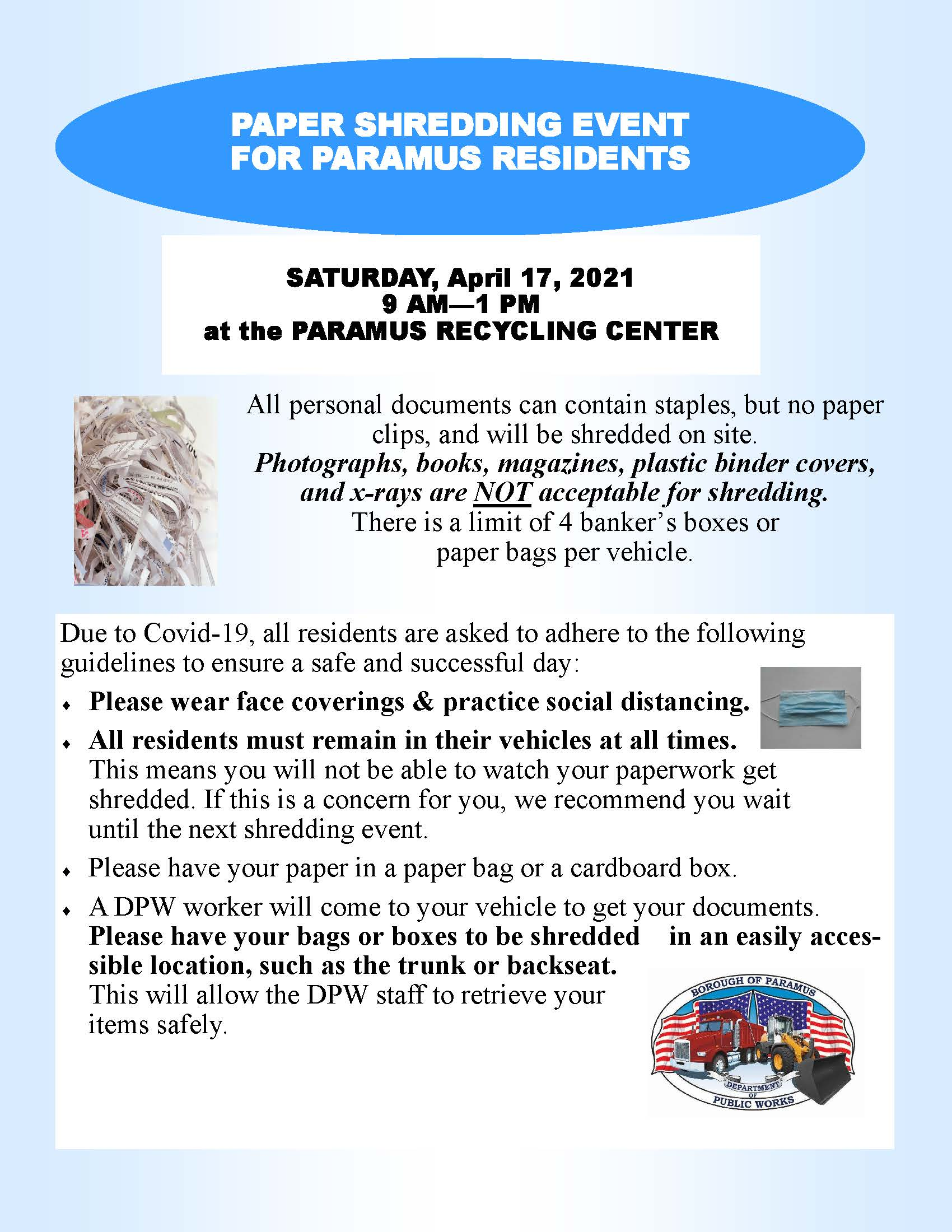 2021 Paramus Paper Shredding Event for Paramus Residents