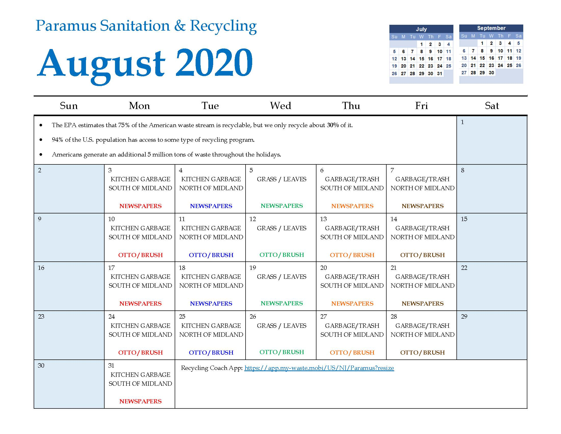 2020 Paramus Recycling Calendar August